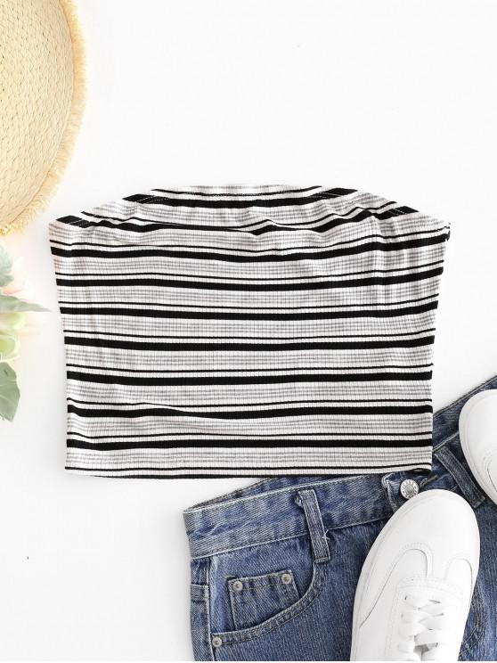 new ZAFUL Ribbed Stripes Bandeau Top - WHITE XL