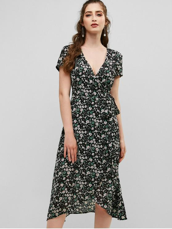 latest ZAFUL Floral Plunging Wrap Dress - NIGHT S