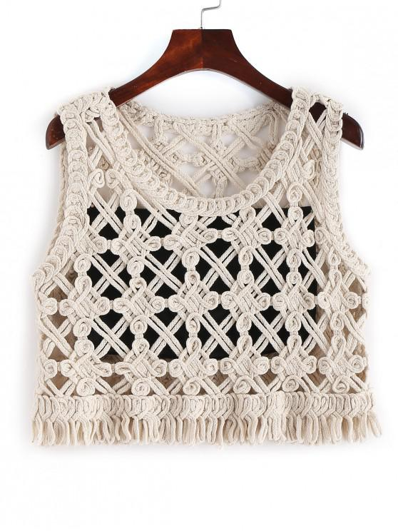 affordable Crochet Crop Tank Top with Tube Top - WARM WHITE ONE SIZE