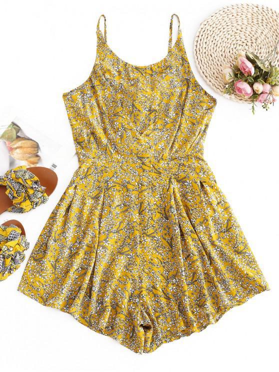 ZAFUL Floral Tie Back Cami Romper - Oro Anaranjado XL