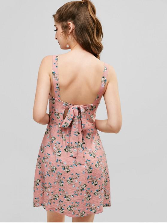 women ZAFUL Button Embellished Floral Tie Back Dress - ROSE M