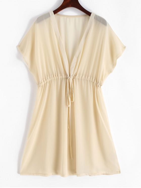 buy Sheer Chiffon Drawstring Beach Dress - CREAM S