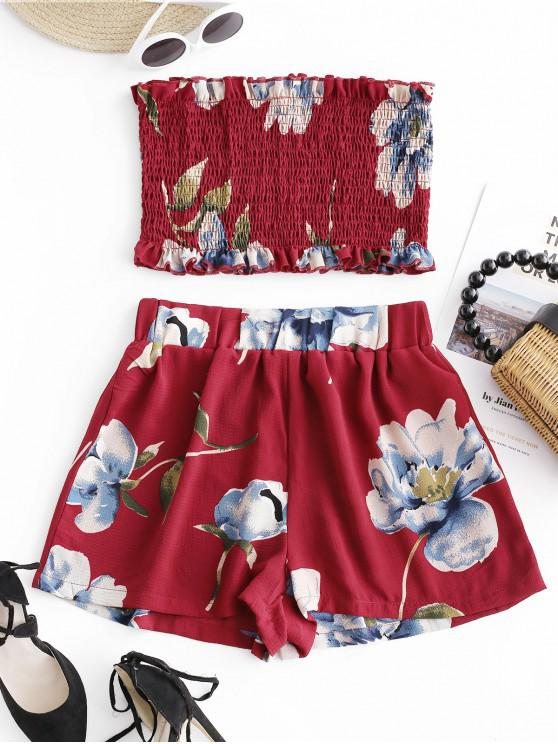 women ZAFUL Smocked Floral Bandeau Top And Shorts Set - RED WINE M