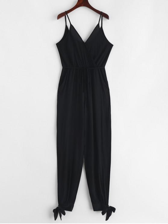 hot Knotted Slit Belted Jogger Jumpsuit - BLACK XL