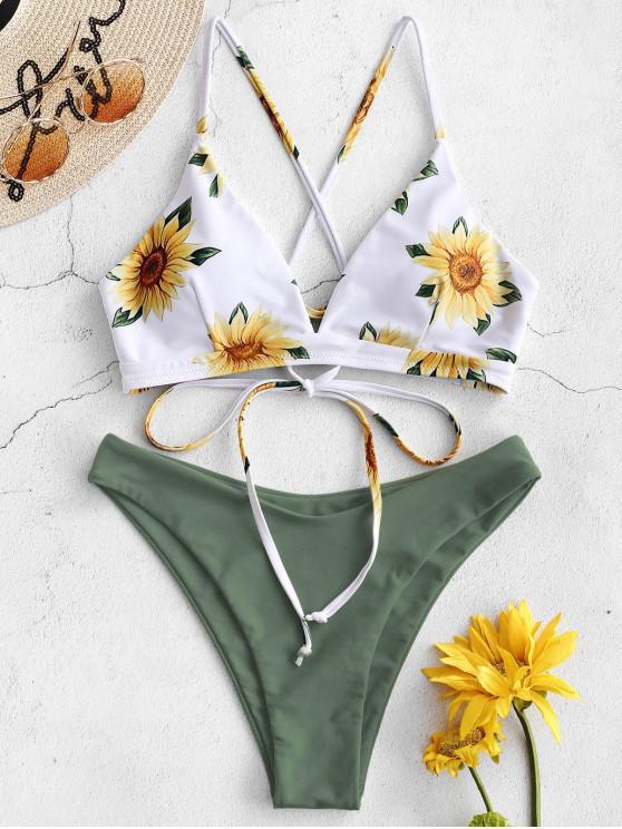 women ZAFUL Sunflower Criss Cross Bikini Set - CAMOUFLAGE GREEN S