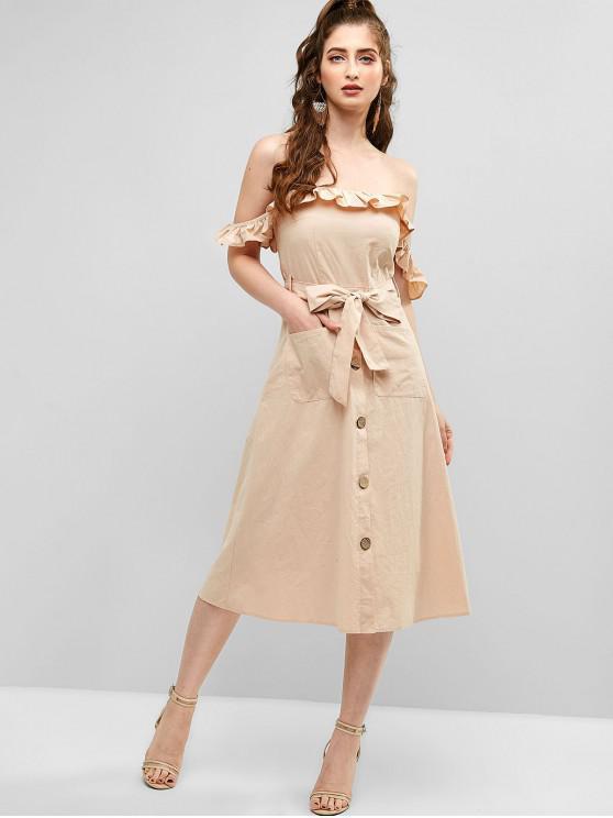 trendy ZAFUL Off Shoulder Ruffled Pocket Belted Dress - APRICOT S