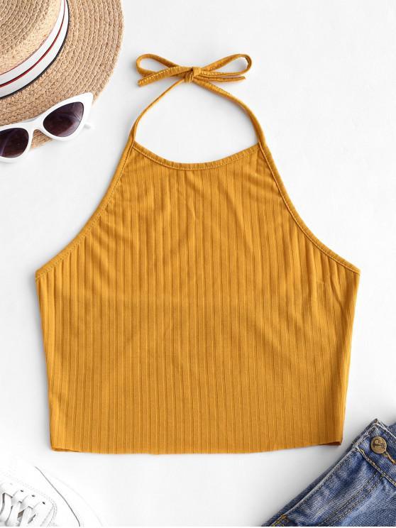 latest Open Back Halter Knit Crop Top - GOLDENROD L