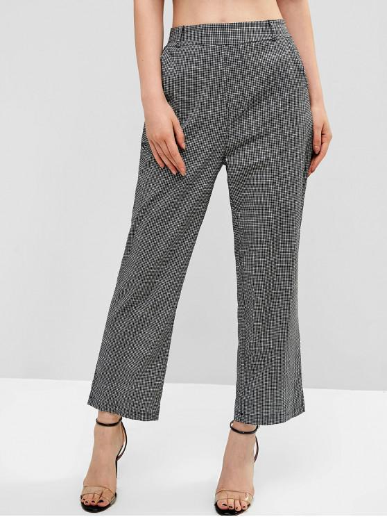 shop Gingham Pockets High Waisted Pants - BLACK S
