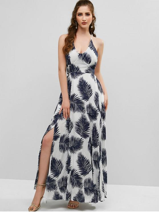 fancy ZAFUL Leaves Print Backless Slits Maxi Dress - WHITE L