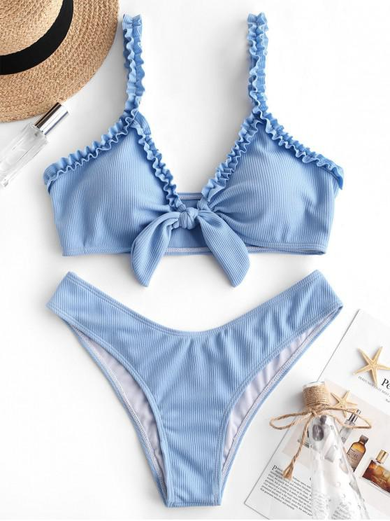 buy ZAFUL Ribbed Lettuce Strap Tied Bikini Set - DAY SKY BLUE L