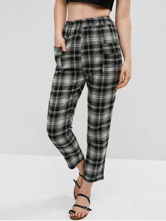 new Patched Pockets Plaid High Waisted Straight Pants - MULTI-A S
