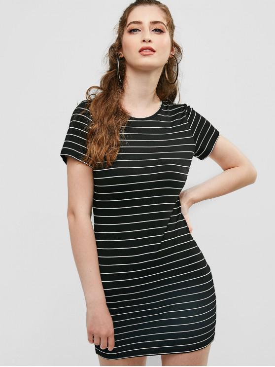 outfits ZAFUL Stripes Casual Tee Dress - BLACK L