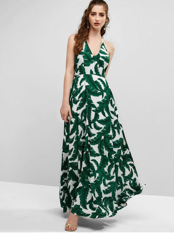 women's ZAFUL Leaf Print Long Slit Backless Dress - WHITE M
