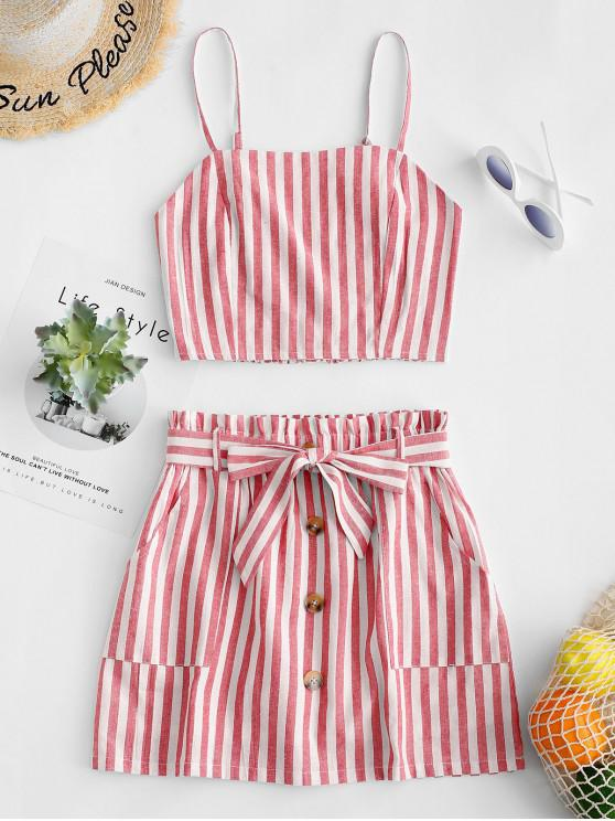 fancy ZAFUL Smocked Striped Top and Belted Skirt Set - RED L