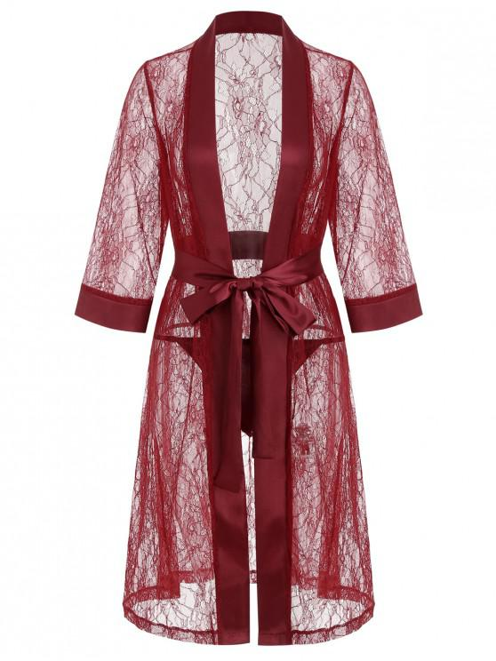 outfit Lace Longline Belted Sheer Robe - LAVA RED L