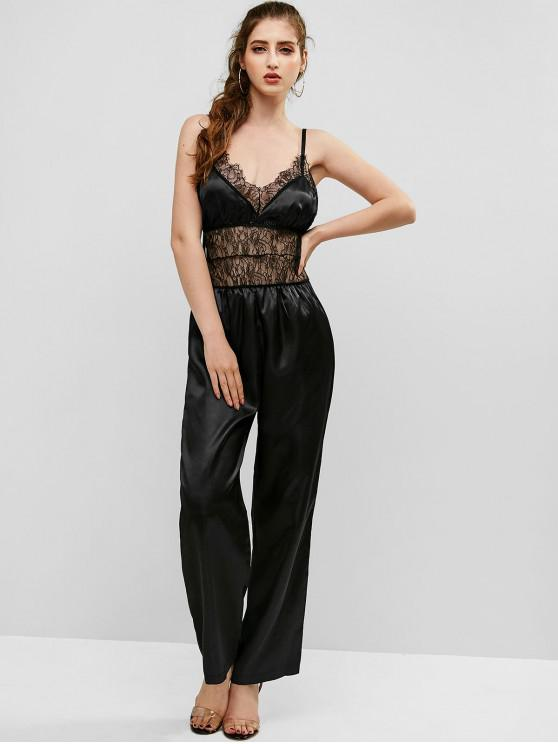 women's Slip Lace Insert Straight Jumpsuit - BLACK M