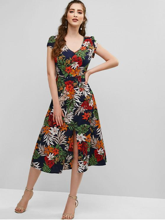 trendy ZAFUL Floral Print Cut Out Slit Dress - CADETBLUE M
