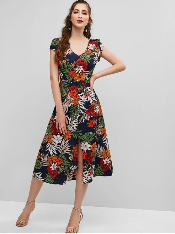 women's ZAFUL Floral Print Cut Out Slit Dress - CADETBLUE S