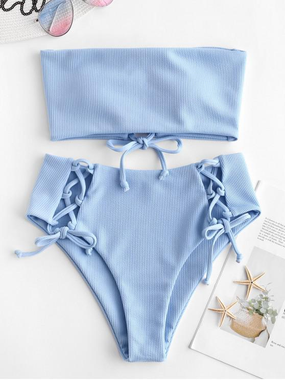 chic ZAFUL Lace Up Ribbed Strapless Bikini Set - DAY SKY BLUE S