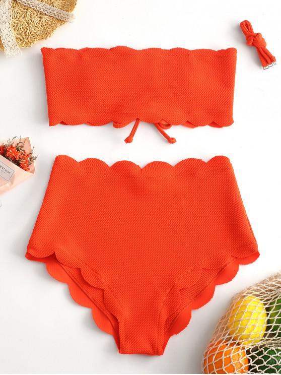 trendy ZAFUL Neon Lace-up Textured Scalloped Bikini Swimsuit - ORANGE L
