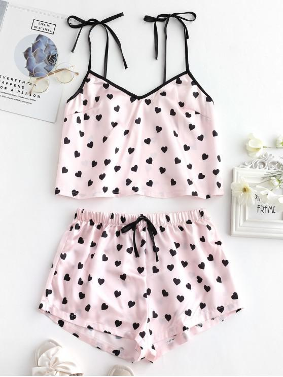 shop Heart Silky Pajama Shorts Set - MULTI-A S