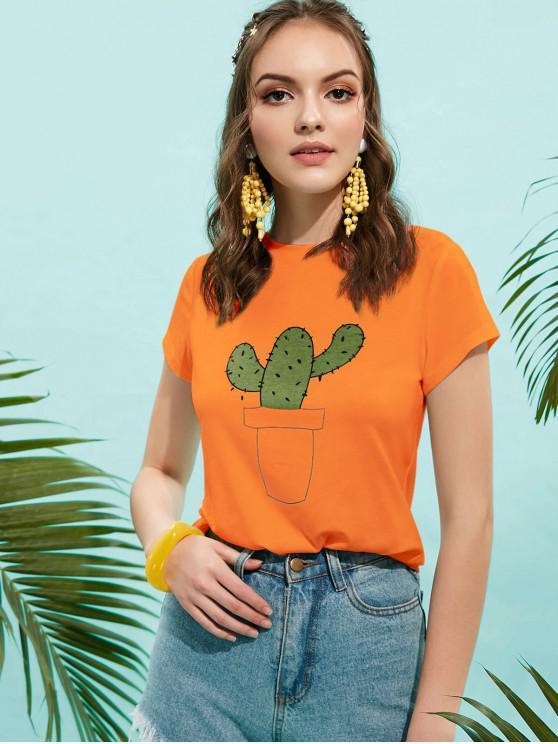 ZAFUL Basic Cactus Graphic Tee - Arancia Zucca L