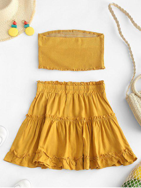 latest ZAFUL Smocked Bandeau Top and Skirt Set - ORANGE GOLD S Mobile