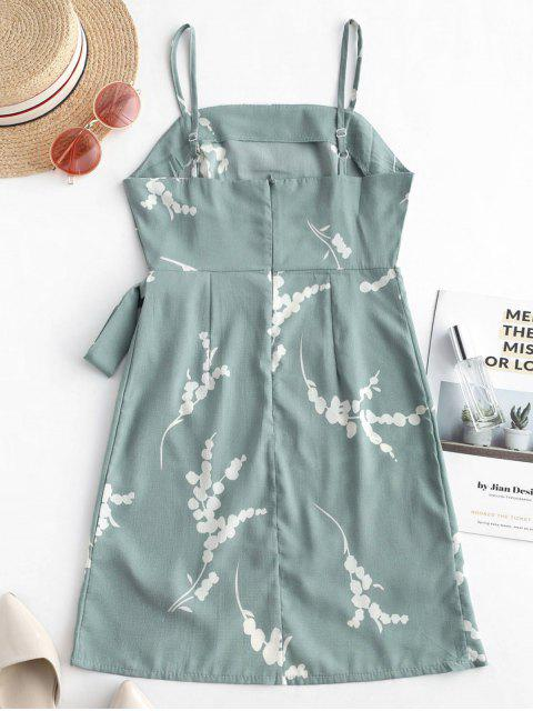 shops Floral Overlap Knotted Cami Dress - CYAN OPAQUE M Mobile