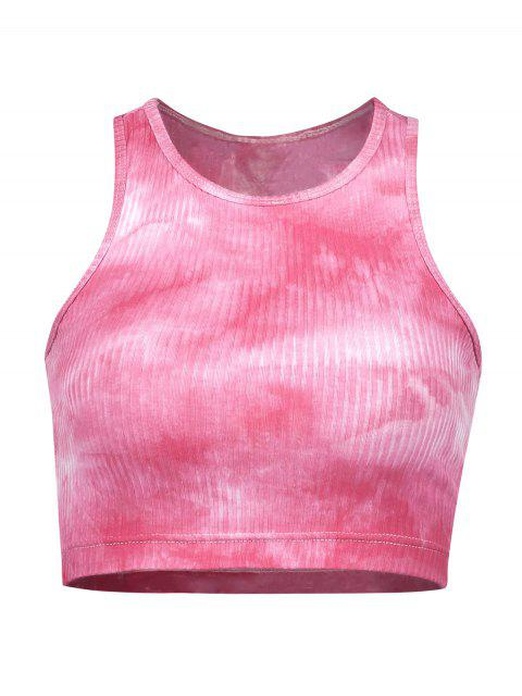 ZAFUL Racerback Tie Dye Crop camiseta de tirantes acanalada - Rosa Oscuro M Mobile