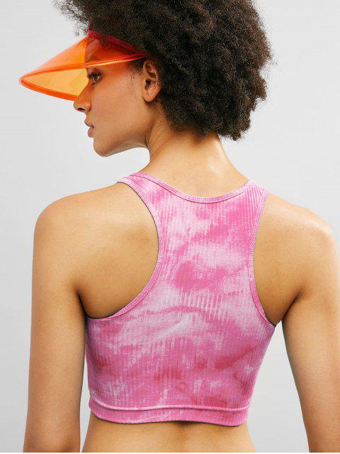 ZAFUL Racerback Tie Dye Crop camiseta de tirantes acanalada - Rosa Oscuro L Mobile