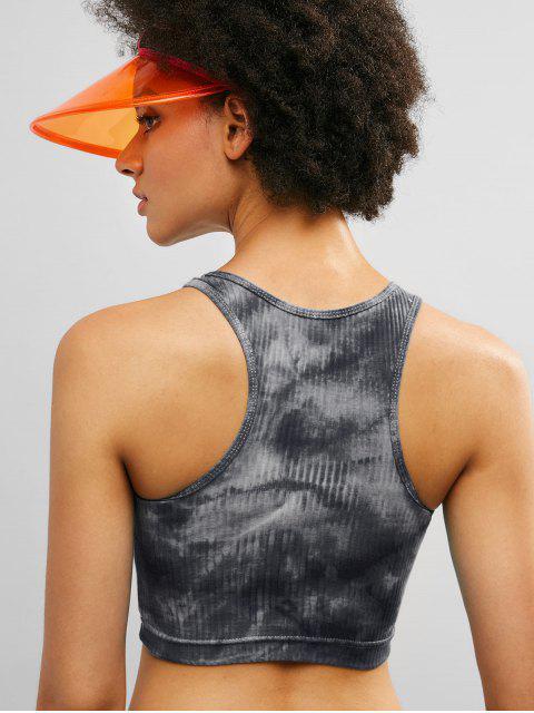 ZAFUL Racerback Tie Dye Crop camiseta de tirantes acanalada - Negro S Mobile