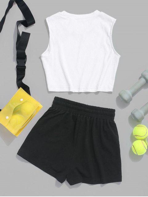 ZAFUL Ribbed Crop Top and Drawstring Shorts Set - Blanco S Mobile