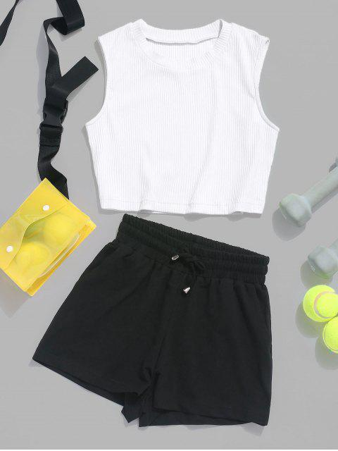 fashion ZAFUL Ribbed Crop Top and Drawstring Shorts Set - WHITE M Mobile