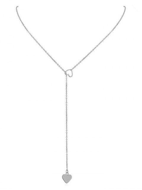 shops Heart Shape Hollow Lariat Necklace - SILVER  Mobile