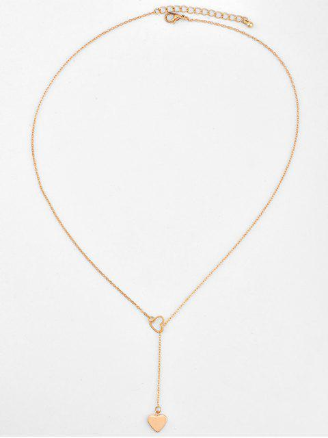 latest Heart Shape Hollow Lariat Necklace - GOLD  Mobile