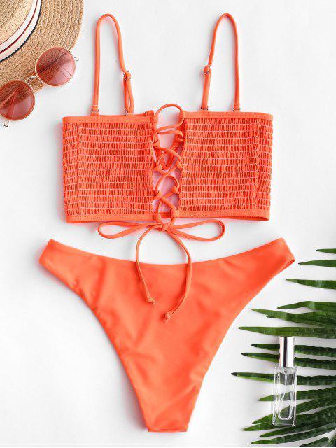 ZAFUL Ensemble de Bikini Néon Plissé à Armature en V - Orange M Mobile