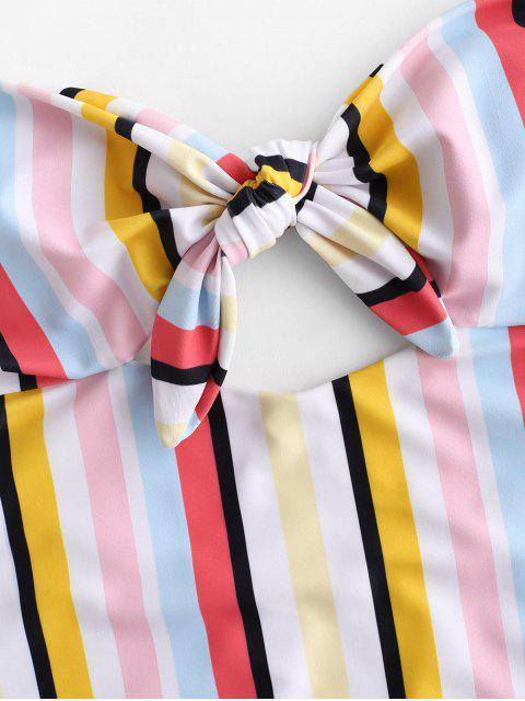 ZAFUL Multi Striped Strapless traje de baño de una pieza - Multicolor-A S Mobile