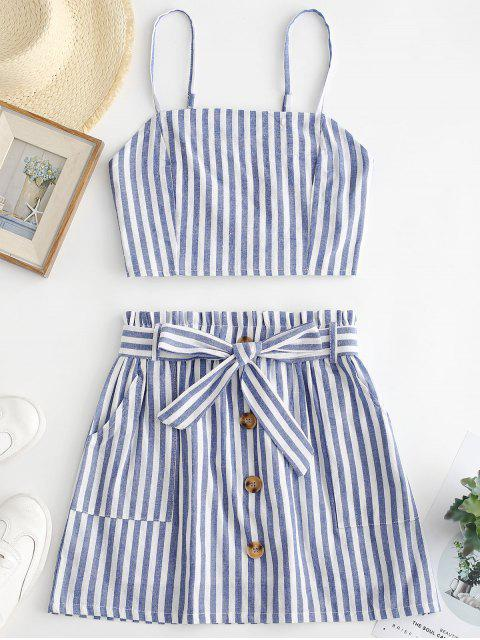 new ZAFUL Smocked Striped Top and Belted Skirt Set - LIGHT BLUE S Mobile
