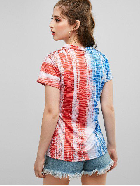 sale V Neck American Flag Print Tee - MULTI-A XL Mobile
