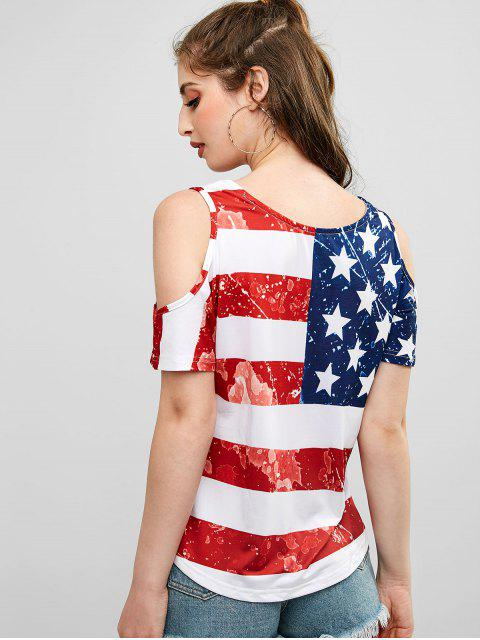 fashion Cold Shoulder American Flag Print Tee - MULTI-A XL Mobile