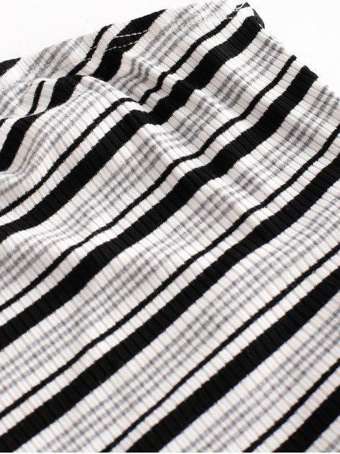new ZAFUL Ribbed Stripes Bandeau Top - WHITE XL Mobile