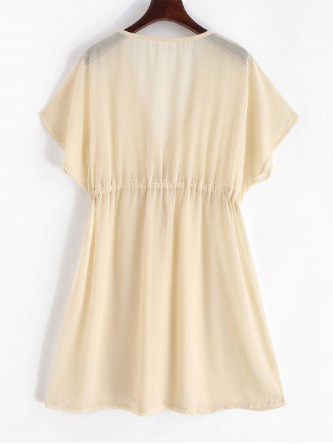 buy Sheer Chiffon Drawstring Beach Dress - CREAM S Mobile