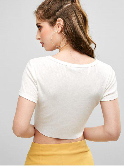 sale ZAFUL Angel Embroidered Crop Tee - WHITE S Mobile