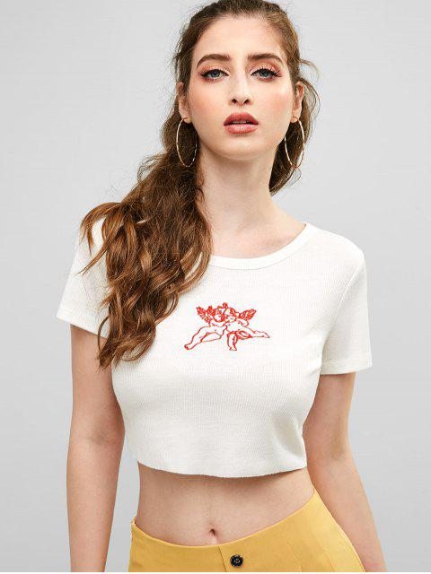 ZAFUL T-shirt Court Ange Brodée - Blanc M Mobile