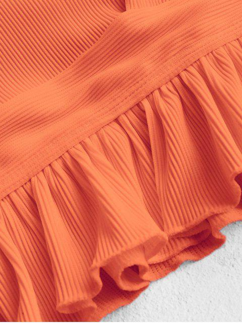 fancy ZAFUL Ruffle Textured Ribbed Tankini Set - PUMPKIN ORANGE M Mobile