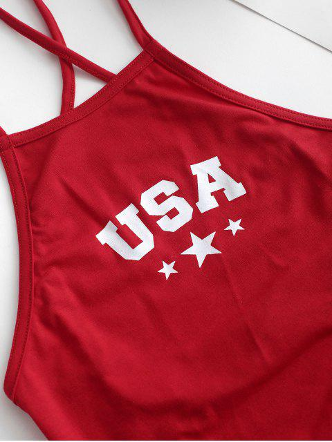 women's ZAFUL Star Letter Graphic Lace Up Cami Top - LAVA RED S Mobile