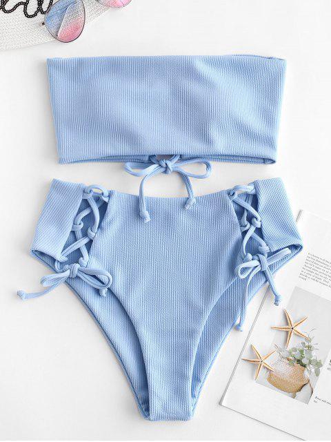 chic ZAFUL Lace Up Ribbed Strapless Bikini Set - DAY SKY BLUE S Mobile