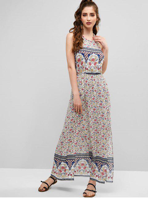 ZAFUL Robe Fendue Fleurie Longue Sans Dos Style Bohémien - Multi L Mobile