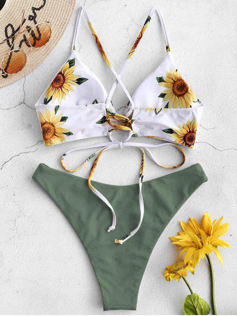 ZAFUL Ensemble de Bikini Croisé Tournesol - Vert Camouflage M Mobile