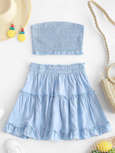 ZAFUL Smocked Bandeau Top And Skirt Set - Light Blue S ...